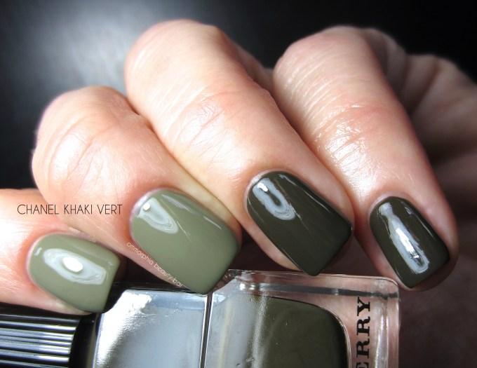 Burberry Khaki Green vs CHANEL Khaki Vert swatches