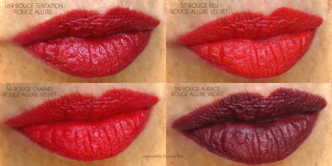 CHANEL Le Rouge lippie swatches