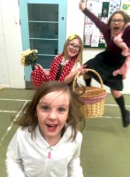 Clara, Evelyn and Evie having fun at Youth Theatre
