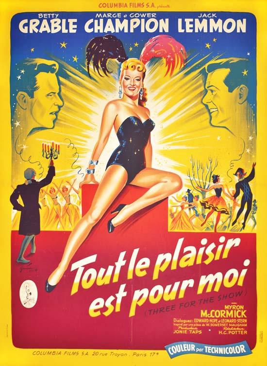 Tout Le Plaisir Est Pour Moi : plaisir, THREE, PLAISIR, LEMMON,, BETTY, GRABLE,, MARGE, CHAMPION., Original,, Vintage,, Poster, Boris, Grinsson