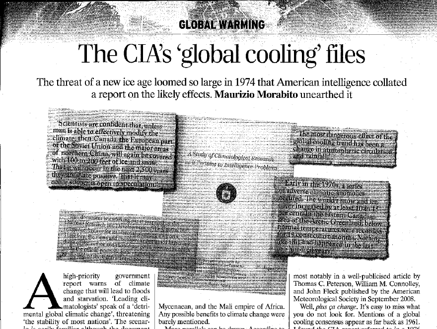 Risultati immagini per World Exclusive: CIA 1974 Document Reveals Emptiness of AGE Scares, Closes Debate On Global Cooling Consensus