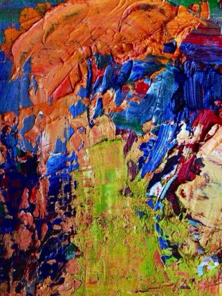 """Close up of """"Sympostic"""", an abstract oil painting by TJ Walkup."""