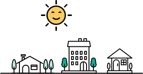 Illustration of houses and sun rising