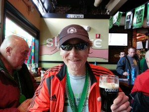 Having a Guinness after the race, New Bedford Half Marathon
