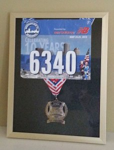 display frame, Boston, half marathon