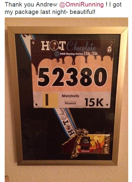 5k medal display, hot chocolate run, customer comments