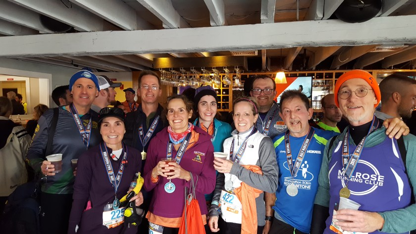 Melrose Running Club at the Harborside Half after party