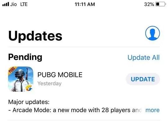 PUBG Ios Update