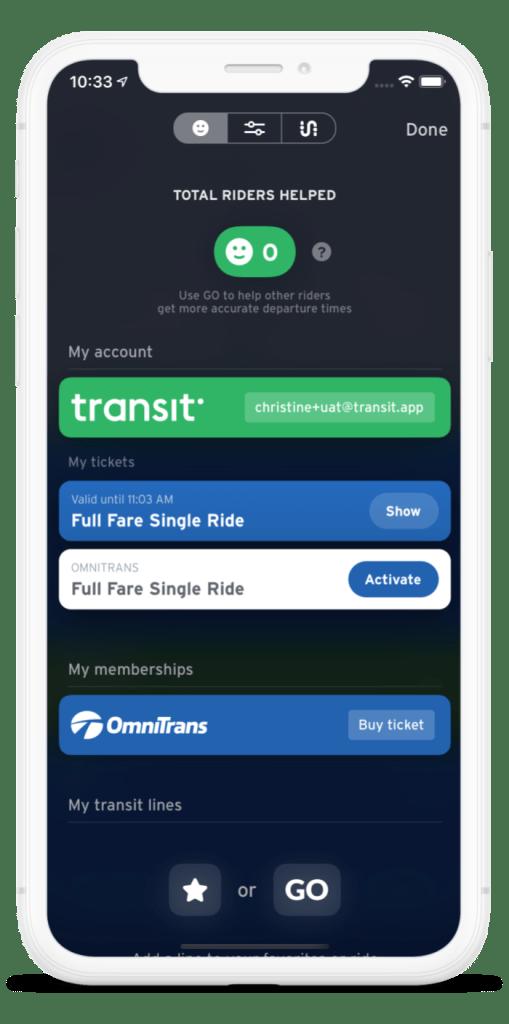 Transit app screenshot