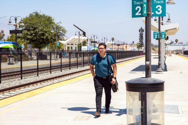 Passenger on Metrolink platform
