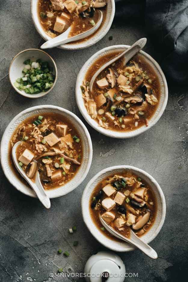 Homemade hot and sour soup in bowls