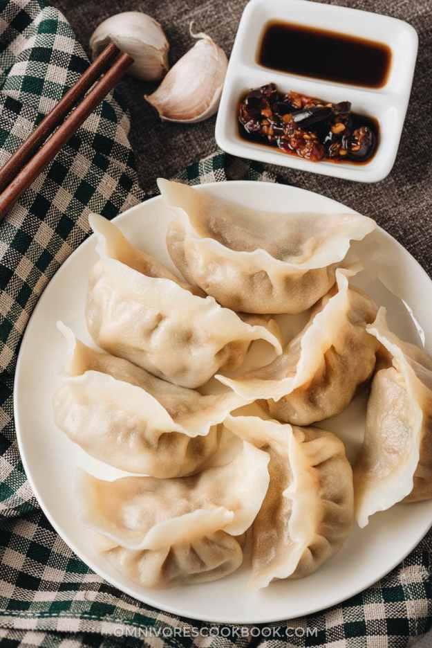 Homemade lamb dumplings close-up