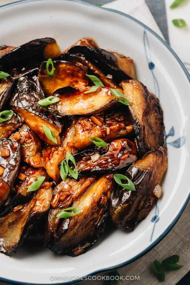Chinese eggplant with garlic sauce close up