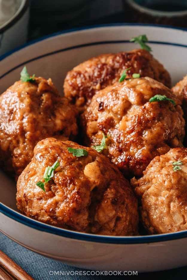 Chinese pork meatballs close-up