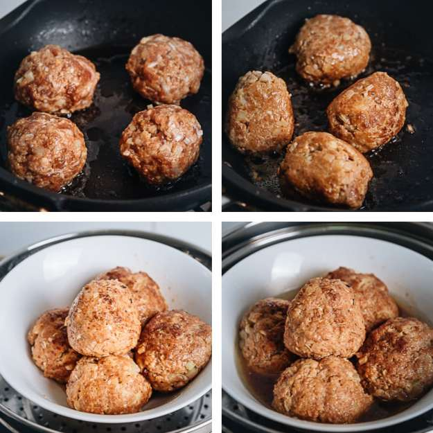 Chinese pork meatballs cooking step-by-step