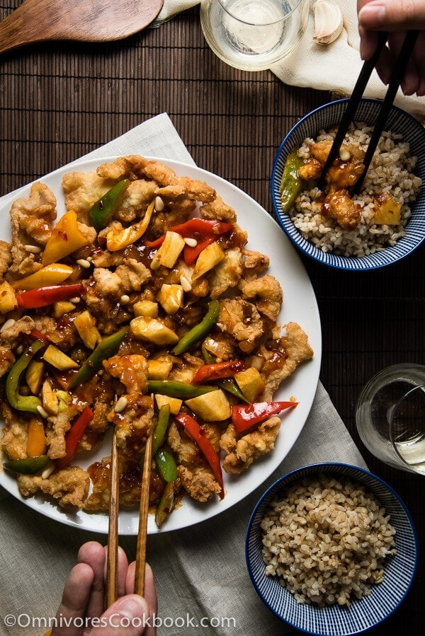 Sweet and Sour Fish - Perfectly fried fish + three-ingredient sweet chili sauce + colorful veggies = YUM! | omnivorescookbook.com