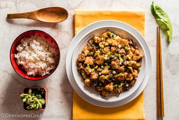 Stir Fried Chicken with Black Bean Sauce (豉汁干葱爆鸡球) - A simple and rich black bean sauce with tons of herbs to bring out the best flavor of the chicken   omnivorescookbook.com