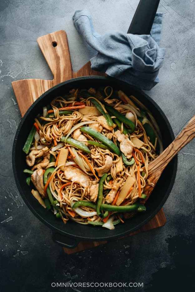 Chicken Lo Mein with peppers, onion, and bamboo shoots