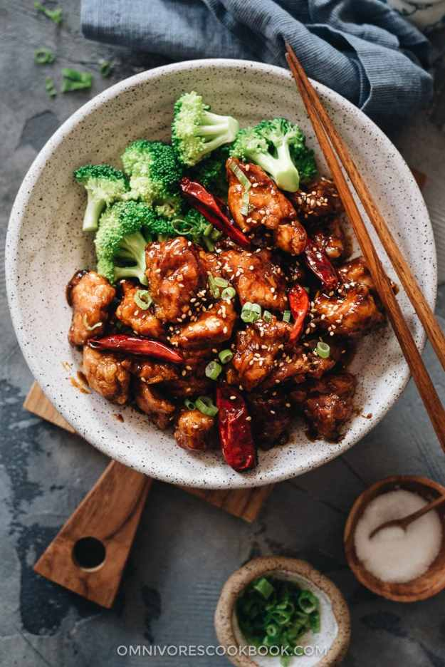 General Tso's Chicken served with broccoli