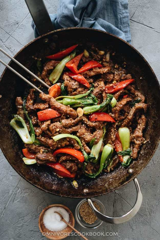 Ginger beef stir fry in a pan