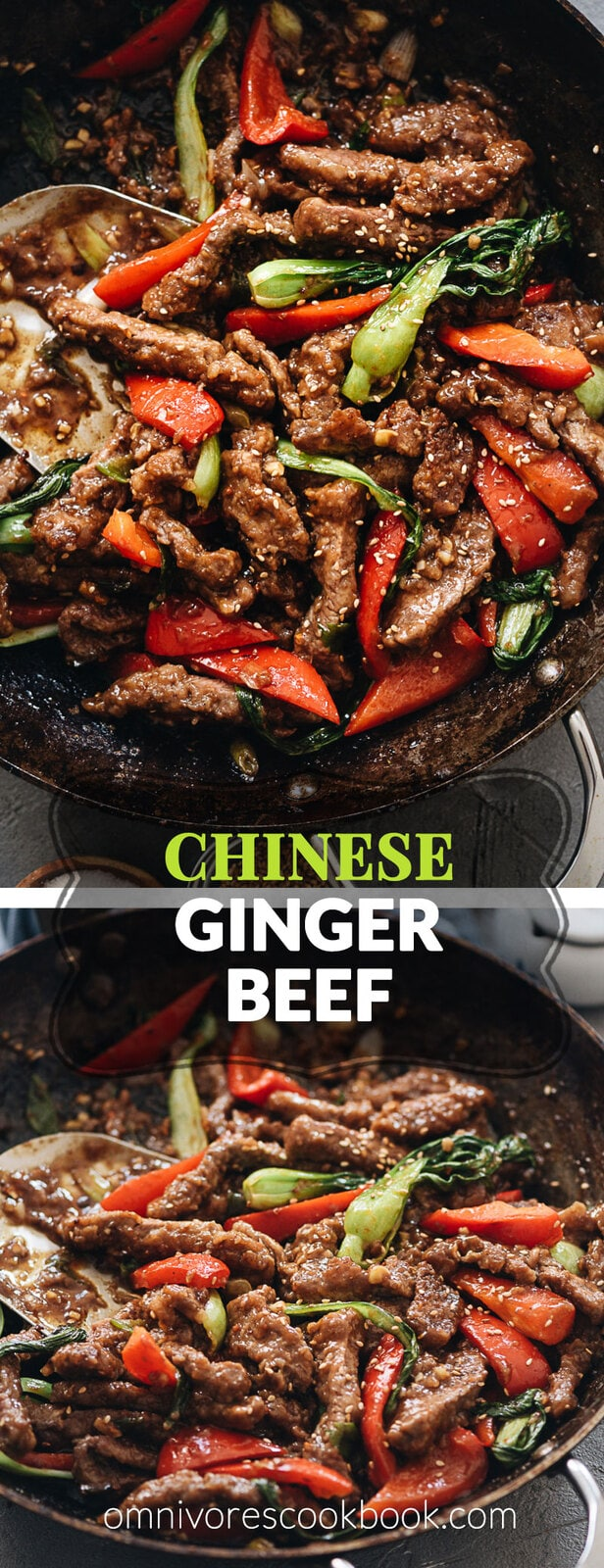 Ginger Beef | Crispy juicy beef, crunchy bell peppers, and tender baby bok choy are tossed in a rich sauce that is sweet, spicy, sour, and peppery. Pair this ginger beef stir fry with a bowl of rice to soak up the deep, arresting flavors of the sauce, and you'll have a princely takeout favorite with ten times the taste! {Gluten-free adaptable}