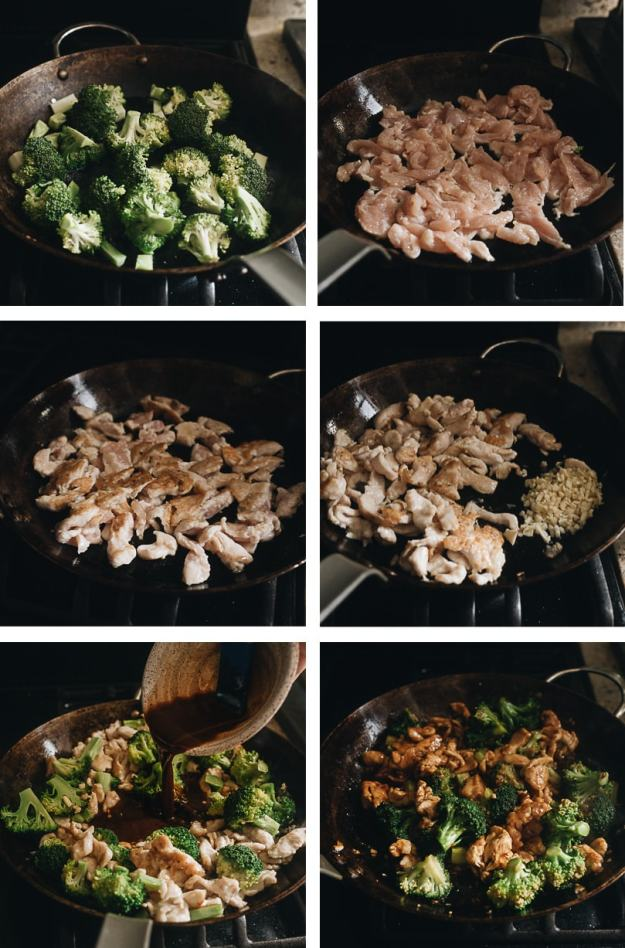 Chicken and broccoli cooking step-by-step