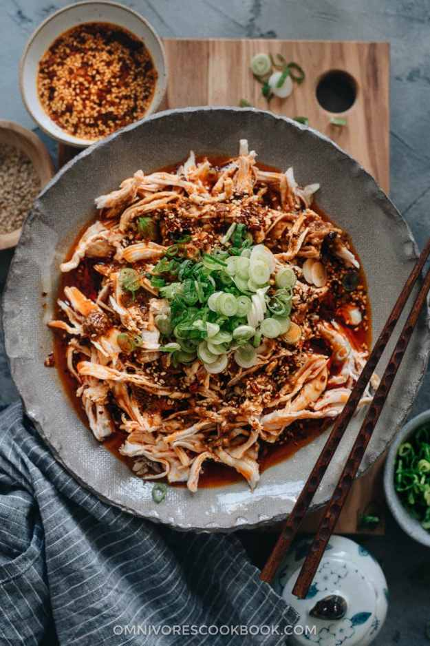 Sichuan-style shredded chicken in red oil