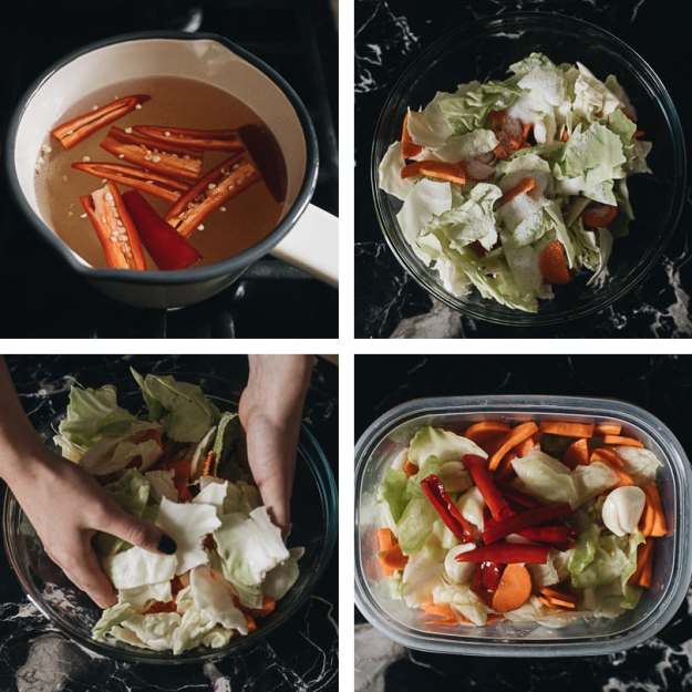 Chinese pickled cabbage cooking step-by-step