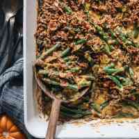 Curried Vegan Green Bean Casserole | An easy homemade vegan Thanksgiving dish that has all the creaminess of traditional creamed beans, but with the bold taste of fresh wholesome ingredients and Indian-inspired aromatics. It's healthier than the traditional version and tastes even better. {Gluten-Free}