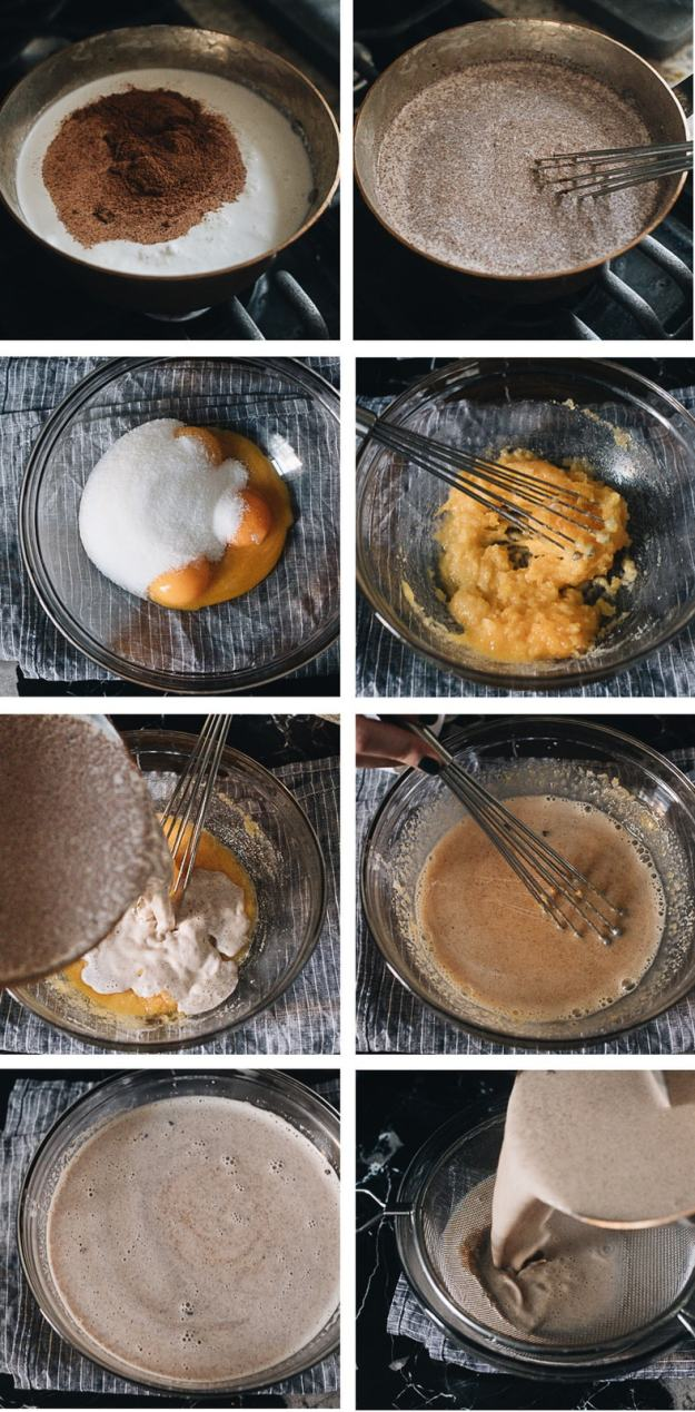 Homemade eggnog cooking step-by-step
