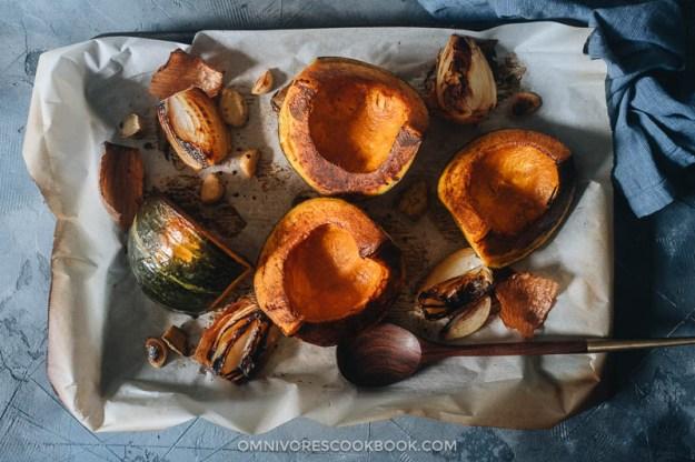 Roasted kabocha squash, onion, ginger and garlic