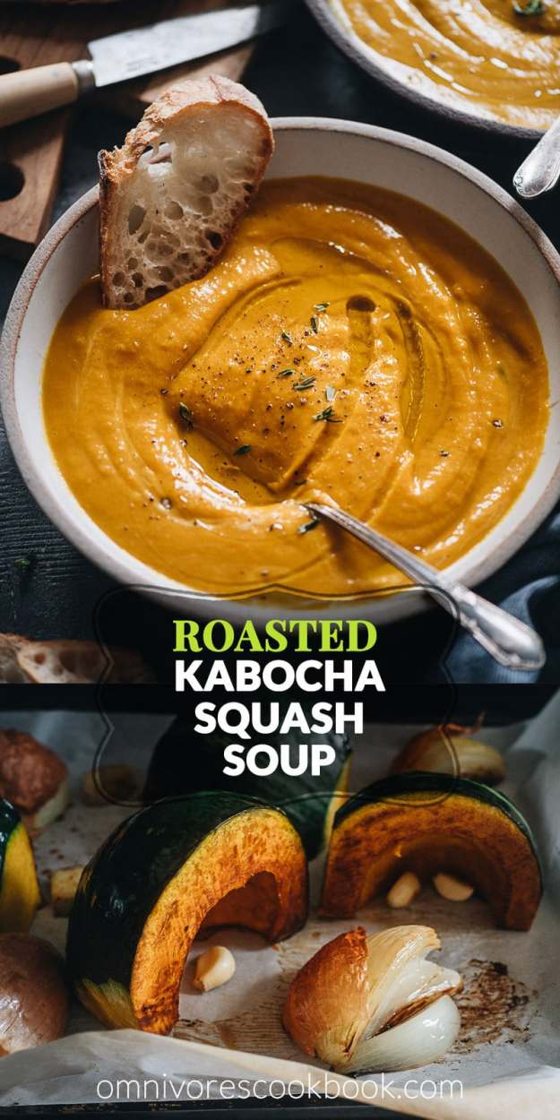 Roasted Kabocha Squash Soup   An easy recipe that yields a well-balanced, hearty, creamy soup that is garlicky and lightly sweet. You can use butternut or acorn squash if you cannot find kabocha. You can easily make the dish vegan as well. Make a big batch in advance and serve it with toasted bread for a healthy dinner. {Vegan-Adaptable, Gluten-Free}