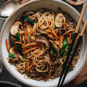 Japchae in a bowl