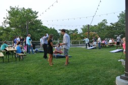 Cornhole is just one of the games that you can play at The Beer Garden at Shippan Landing