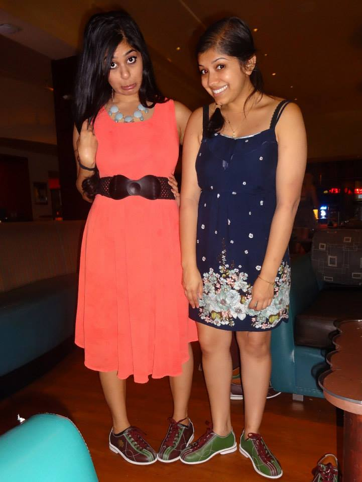 September 2013: Rekha and I, showing off our bowling shoes!