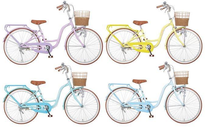 パステルカラー自転車女の子