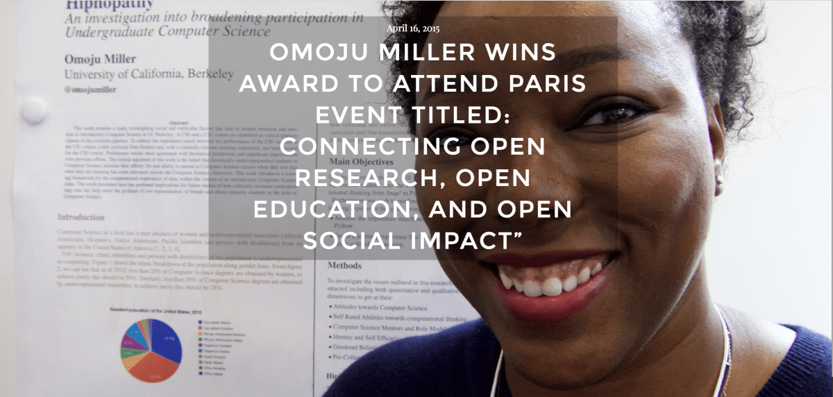 A picture of Omoju posted on the BEST lab site after winning an Open Innovator Award and becoming a Sage Scholar. 2015