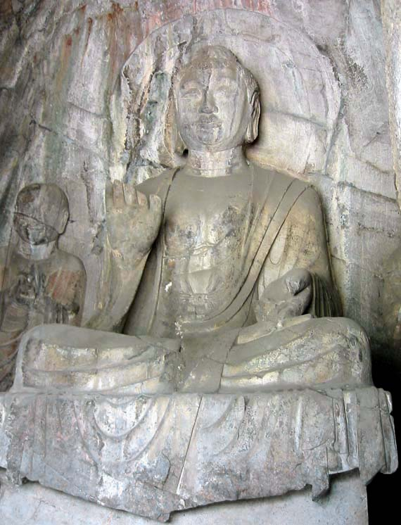 Central seated Sakyamuni and disciple, Hidden Stream Temple (Qian Xi Si; 20).