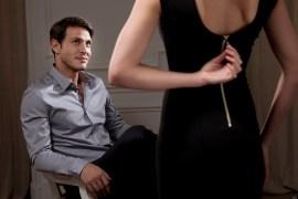 Woman making a striptease