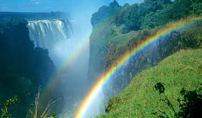 rainbows at Victoria Falls, Zimbabwe. Image shot 2000. Exact date unknown.