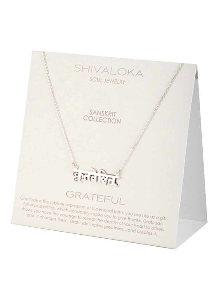 Grateful Sanskrit Necklace Silver Shivaloka Authentic