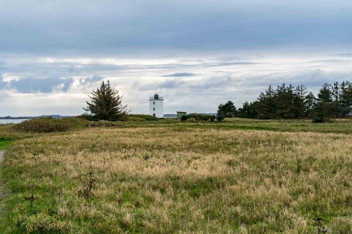 Blick über die Landschaft und den Leuchtturm auf Baagø