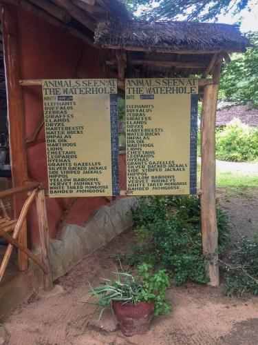 Strichliste der Tiersichtungen am Wasserloch