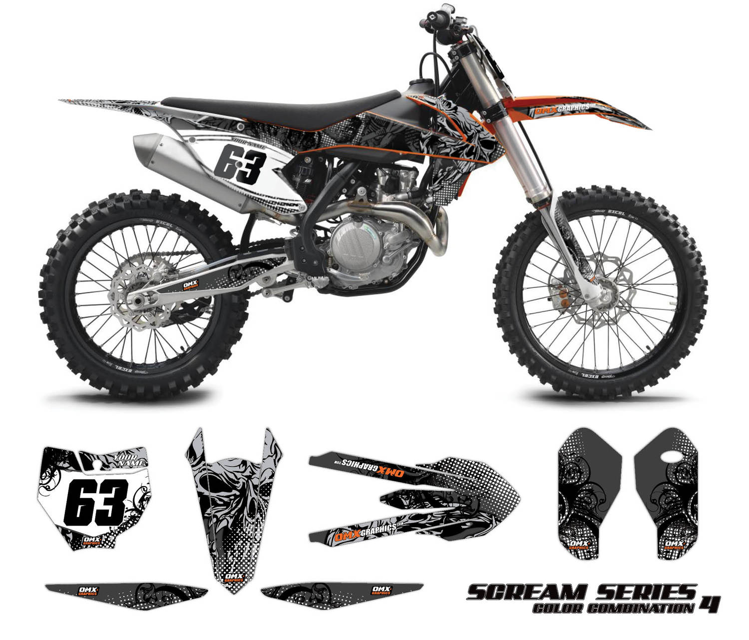 KTM motocross decals - Scream Grey