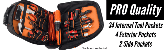 Rugged Tools Pro 40 Pocket Tool Backpack
