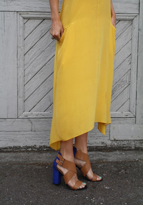 Liberty Sage, Yellow Dress, Tank, Silk dress, t-back, Color blocked heels, Shoe Dazzle, Vintage Scarf, San Francisco, California, Travels, Bauble Bar