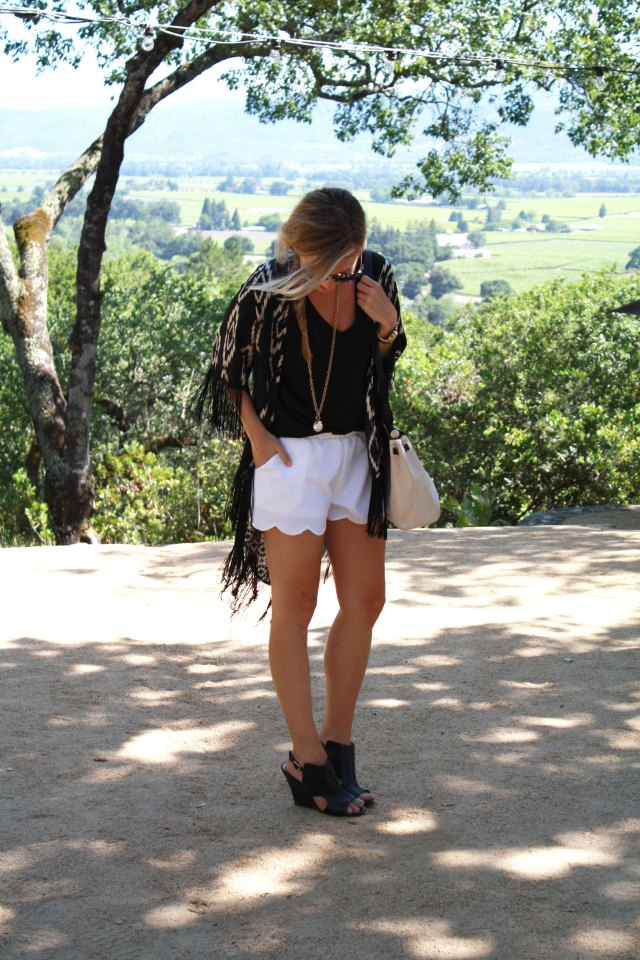 Napa, Wine Country, California, Boho, Fringe, Hermes, Black and White, Fishtail braids