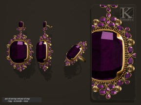 (Kunglers) Aphrodite earring amethyst AD