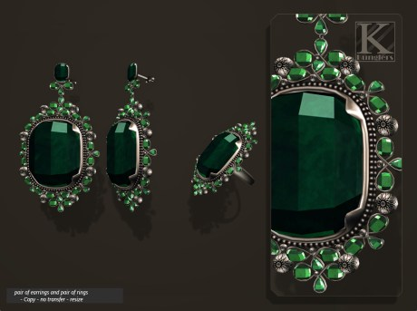 (Kunglers) Aphrodite earring emerald AD