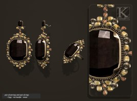(Kunglers) Aphrodite earring obsidian AD